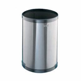 Корзина д/бумаг 10 л цилиндрич., окантовка черн. ABS-пластиком, оцинк. металл, цвет белыйчёрный), Цвета золото, серебро, графит +10% к стоимости